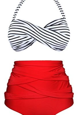 84d15d2e1c Angerella Women Vintage Polka Dot High Waisted Bathing Suit Bikini