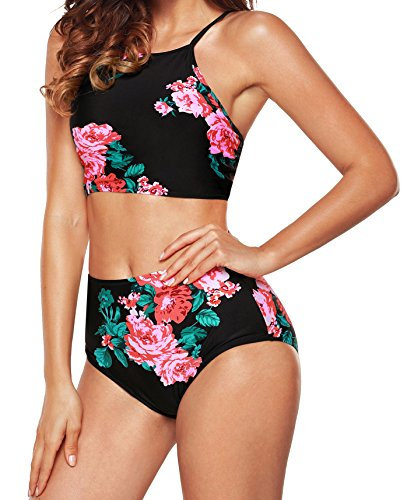 ac9cfadc32 Angerella Womens Retro Classic Crop Top Bikini Two Piece Swimsuit ...